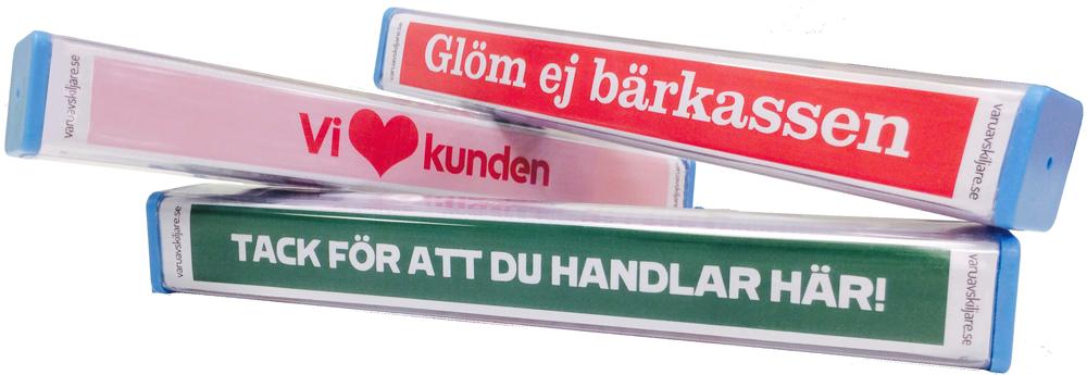 Kundpinnar med specifika budskap från butikerna